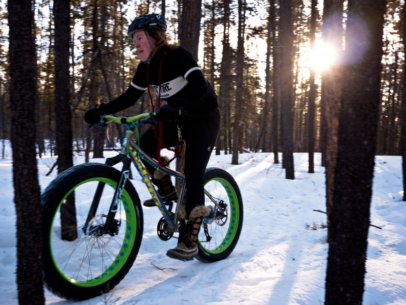 Bike with fat tires on snow covered trail