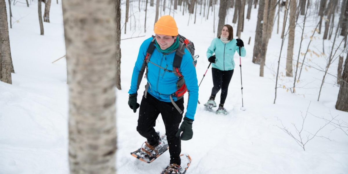 Group of people on snow shoes